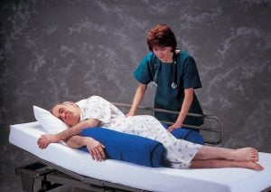 Re-positioning a patient every two hours in bed prevents bed sores.